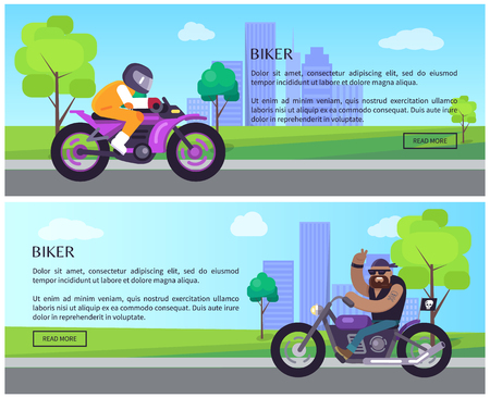 Biker smiling riding bike, man driving motorcycle in town, cityscape on background web text sample collection sport and leisure vector illustration Illustration