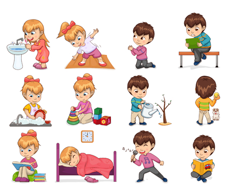 Girl and boy collection with activities daily life, kids set washing dishes, singing sleeping, reading book calmly isolated on vector illustration