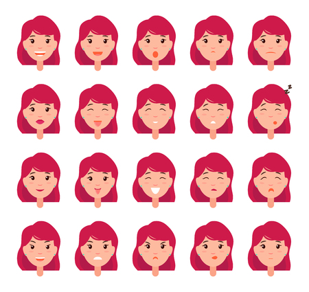Woman emotions emoji of girl in good and bad mood, happy and depressed, sleepy and irritated female head vector illustration isolated on white big set