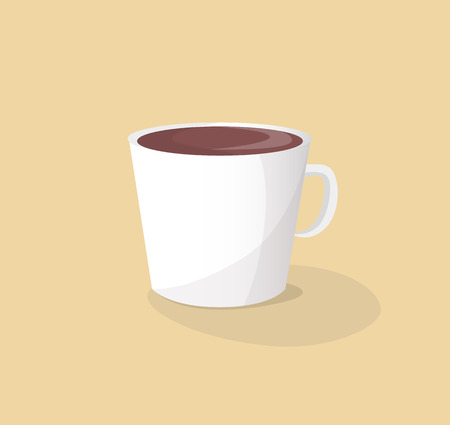 Small white ceramic cup of hot delicious coffee. Energetic beverage in fragile dishware. Tasty espresso drink isolated cartoon vector illustration.