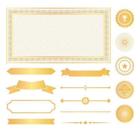 Cornici decorative, pennarelli dorati e nastri di certificati o diplomi. Ornamento con segni di approvazione per documenti illustrazioni vettoriali set.