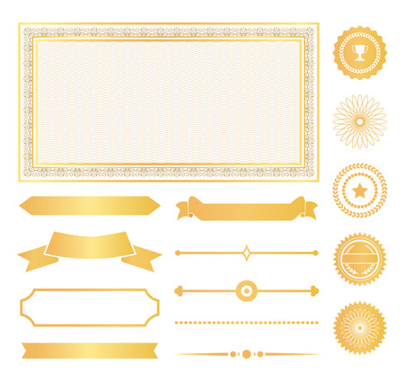 Dekorative Rahmen, goldene Wasserzeichen und Bänder von Zertifikaten oder Diplomen. Verzierung mit Genehmigungszeichen für Dokumente Vektorillustrationen gesetzt.