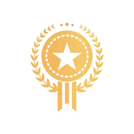 Signo de certificado de oro con estrella y corona de laurel