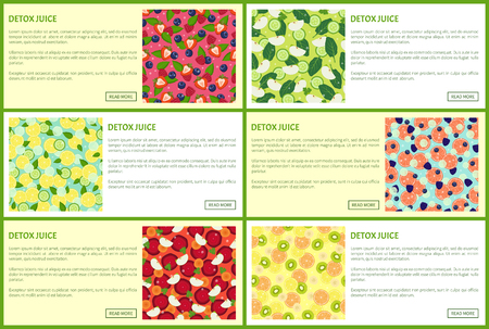 Detox juice web posters set ingredients of refreshing drinks citrus fruits, organic healthy vegetables and herbs mint leaves vector banners with text