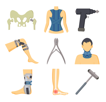 Orthopedic instruments with equipment for recovery. Special corsets, solid fixators, injured body parts and tools for surgery vector illustrations. 스톡 콘텐츠 - 105604179