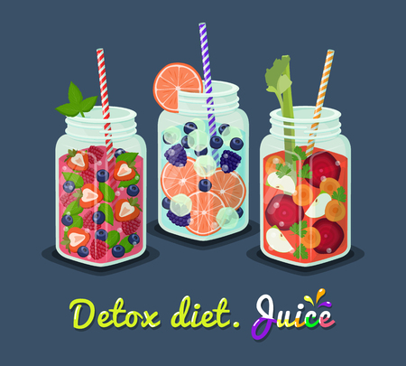 Detox Diet Mug Fresh Drink Vector Illustration