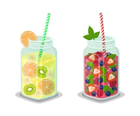 Liquid dieting drinks set, detox beverages made of raspberry, banana slices, fresh kiwi, blackcurrant and mint vector illustration isolated on white Çizim