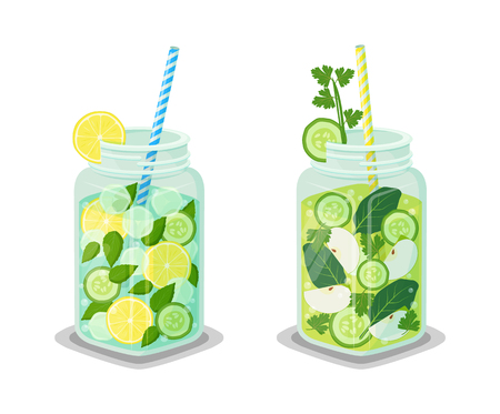 Mugs of refreshing drink with organic green cucumber, bay leaves, slices of apple and lemon, ice cubes vector vegetarian dieting detox cocktails, straw Illustration