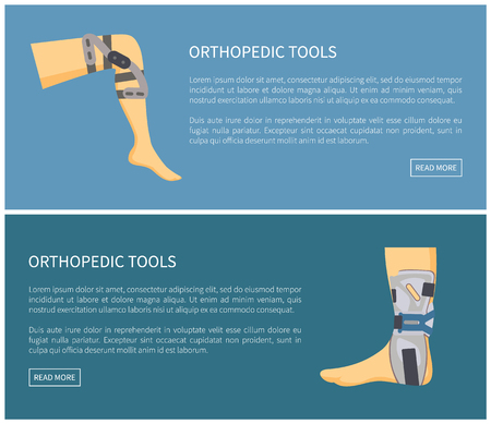 Orthopedic tools fixators set colorful poster vector illustration isolated on blue human leg in medical retainers for effective treatment, text sample