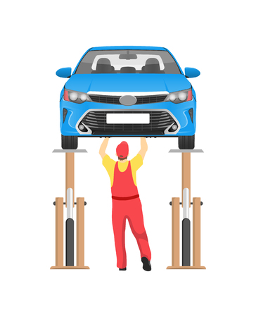 Vehicle on inspection in auto service vector card, illustration with suspended car isolated white backdrop, busy mechanic working under automobile