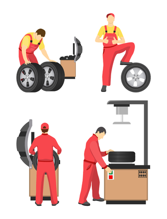 Wheel service colorful banner vector illustration, mechanics in red coverlasses working with special tools and machines for tyre wheeling or fitting 일러스트