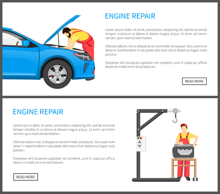 Engine repair web pages set with auto mechanic bending over car and fixing it, man wearing uniform working on mechanical device vector illustration Illusztráció