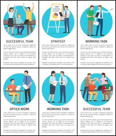 Strategy and Working Task Set Vector Illustration Stock Photo