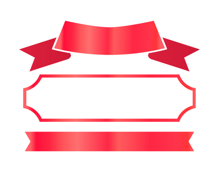 Red Ribbons and Frame for Certificate Decor Set