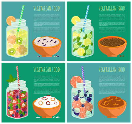 Vegetarian Food Posters Set Detox Diet Concept