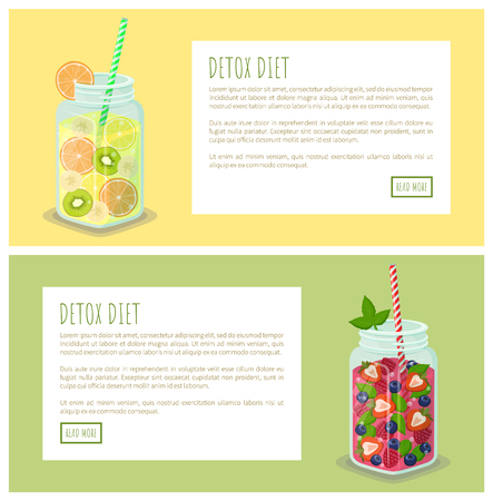 Detox Diet Set of Web Pages Posters Drink in Jars Stok Fotoğraf