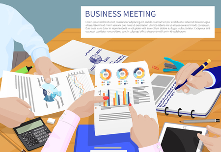 Business meeting and text sample in frame, discussion with papers documents, charts diagrams, busy people isolated on vector illustration