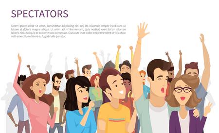 Espectadores aislados en la ilustración de vector blanco, mucha gente alegre con manos levantadas y sosteniendo sus dispositivos móviles, multitud emocional feliz