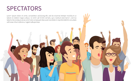 Toeschouwers geïsoleerd op witte vectorillustratie, veel vrolijke mensen met stijgende handen en met hun mobiele apparaten, gelukkige emotionele menigte