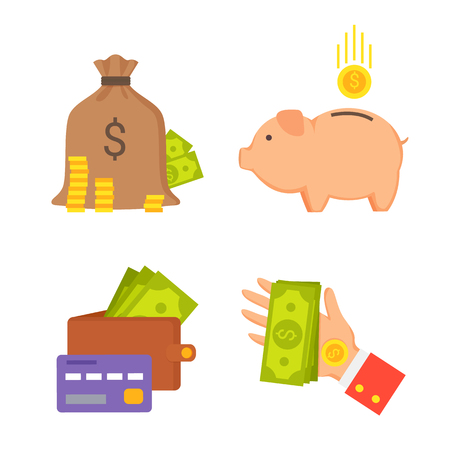 Sack money wallet with credit card, pig box and hand giving banknote, finance icons collection charity concept isolated on vector illustration Çizim