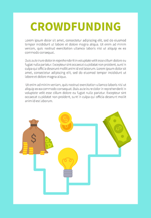 Crowdfunding card colorful vector illustration, text sample isolated on white, blue frame money bag icon coins and dollar idea yellow bulb image