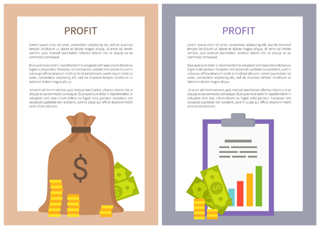 Profit info posters money coins investments. Finance bag and information chart with sample text. Profitable business color banner vector illustrations. Иллюстрация