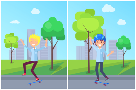 Skateboarding collection with boys teenagers, hobby of male in city streets, trees infront buildings, sky and clouds, set isolated on vector illustration Illustration