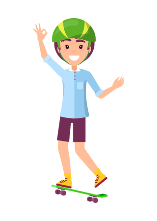 Skaters hand gesture saying everything is alright, boy wearing helmet and smiling, skateboarder vector illustration isolated on white background Illustration