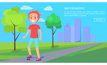 Skateboarding internet page text sample, urban activities and pastime in park with trees, skateboarder teenager isolated on vector illustration