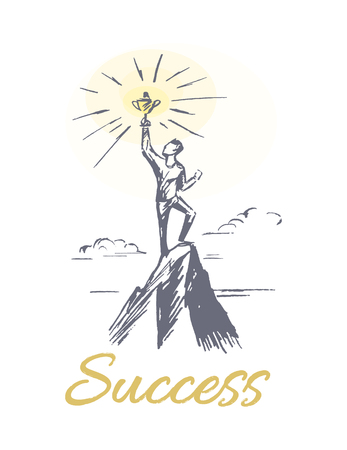 Success person at mountain top poster with man and achievements, symbolic representation of difficult work, vector illustration isolated on white