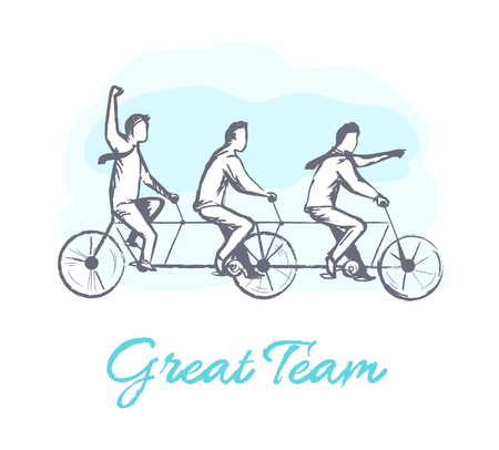 Great team poster with people, bicycle for three persons cooperation and symbolic representation of motion, coworkers ride on one bike vector illustration