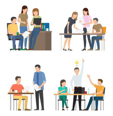 Teams discuss ideas for startup at office. Men women work together to start business. Productive teamwork and cooperation vector illustrations. Stock Illustratie
