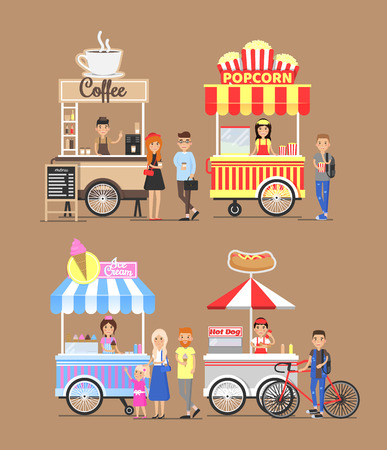 Trolleys with street food and vendors. Coffee, salty sweet popcorn, tasty ice cream, soft hot dogs on selling carts, buyers customers vector illustrations