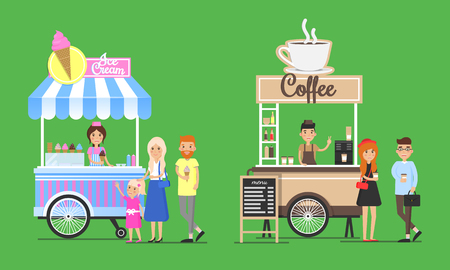Cold ice cream and hot coffee street carts set. Summer snack warm beverage sold from trolley. Tasty bars on wheels isolated vector illustrations