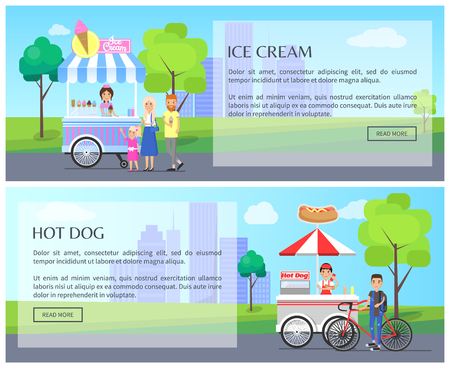 Ice-cream and hot dog web set text sample headlines, ice cream hot-dog stalls for business store, collection vector illustration with customers