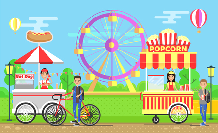 Street food carts with vendors in amusement park. Hot dogs and crispy popcorn trolleys near ferris wheel cartoon vector illustration, mobile van shops