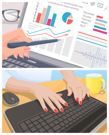 Male hand examines graphic female typing on keyboard. Accountant analizes graphics and secretary working at computer vector illustrations set.
