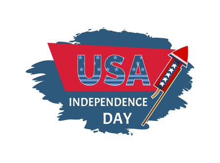 USA Independence day sticker with headline and petard, celebration of national holiday, brush title label vector illustration isolated on white