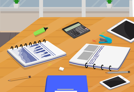 Table with Business Supplies Vector Illustration 向量圖像