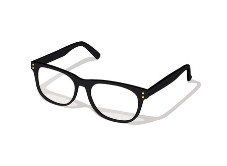 Modern glasses icon isolated on white background vector illustration of elegance spectacles in black frame, eyeglasses with lense, eyewear model Иллюстрация