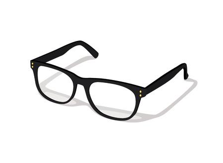 Moderne glazen pictogram geïsoleerd op een witte achtergrond vectorillustratie van elegantie bril in zwart frame, brillen met lens, brillen model
