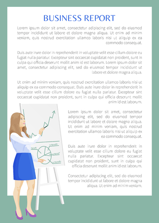 Business report banner color vector illustration cute businesswoman standing near flip chart with statistical diagrams, strategy text sample poster Illustration