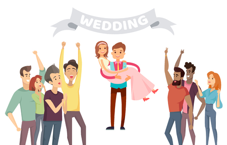 Wedding party banner abstract vector illustration with happy friends of young couple, cheerful groom holding his bride on hands, marriage color card
