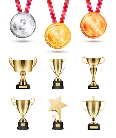 Medals for competition, golden cups and awards. Shiny rewards on tournament. Trophies collection great achievements isolated vector illustration Archivio Fotografico - 105604233