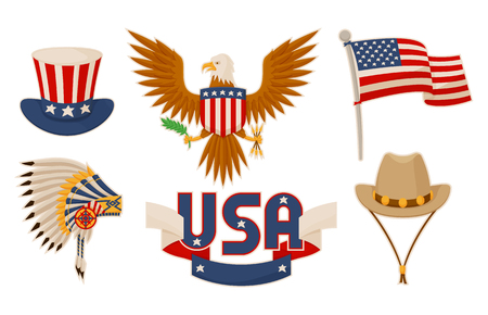 USA items and objects collection related to american culture sport helmet Indians cowboy hat bald eagle flag sign vector illustration isolated on white