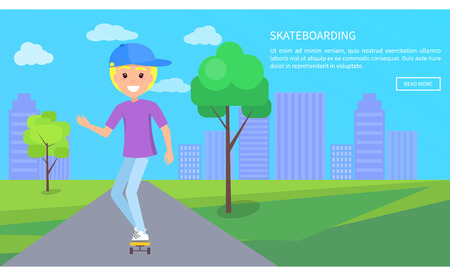 Skateboarding text web page and headline, skateboarder in green city park on background of skyscrapers high urban buildings vector advertisement