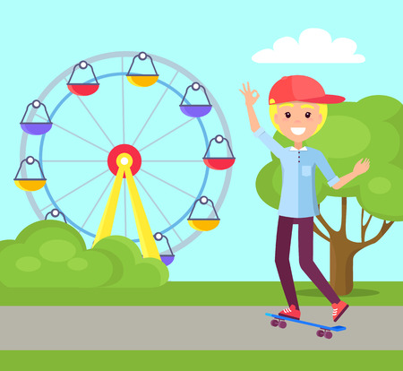 Skateboarding and amusement park trees grass flat road favourite hobby, boy with smile on face having fun, ferris wheel isolated vector illustration