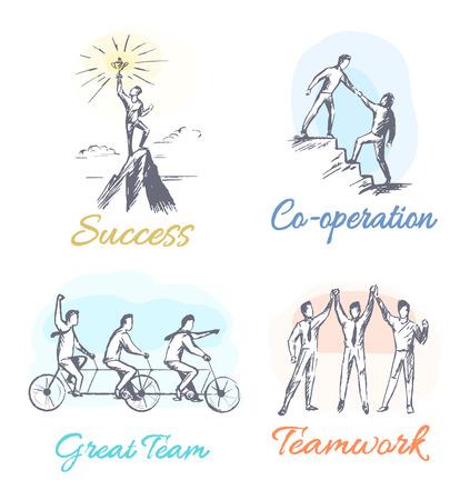 Conjunto de éxito y cooperación de carteles gran equipo y trabajo en equipo, colección de pancartas con titulares, personas que trabajan juntas ilustración vectorial