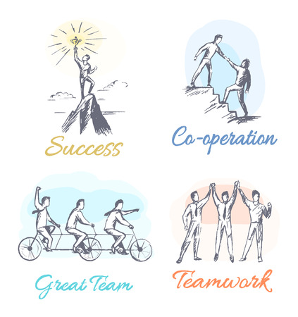 Success and co-operation set of posters great team and teamwork, collection of banners with headlines, people working together vector illustration