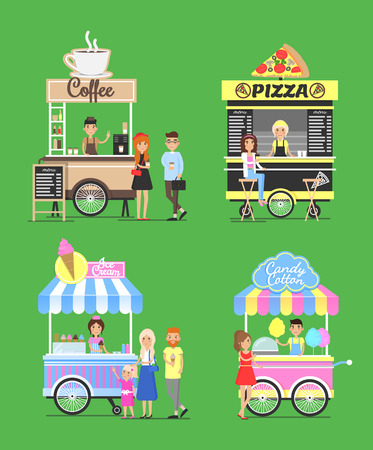 Street fast food from carts with friendly vendors. Natural coffee, tasty pizza, cold ice cream and soft cotton candy van cart vector illustrations.